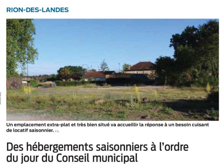 Des hébergements saisonniers à l\'ordre du jour du Conseil municipal - Rion des Landes